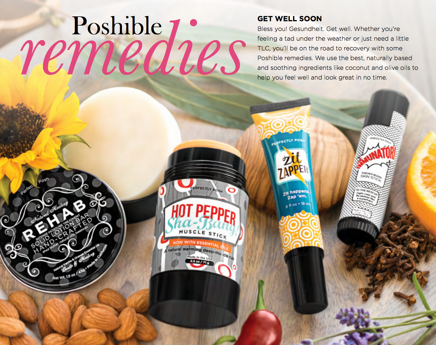 Whether you're feeling a tad bit under the weather or just needing some TLC, you'll be on the road to recovery with some Poshible remedies.  We use the best naturally based and soothing ingredients like coconut and olive oils to help you feel well and look great in no time.  Shop online at aimeeposh.com!