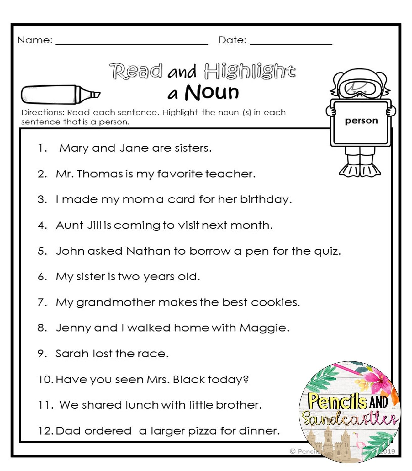 Nouns No Prep Packet With Images