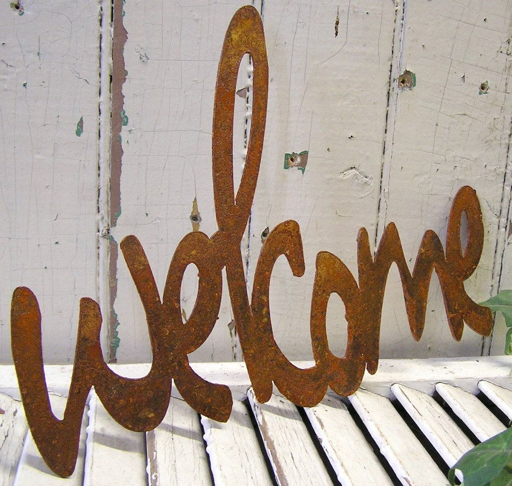 Welcome Unfinished Raw Steel Word Art Sign