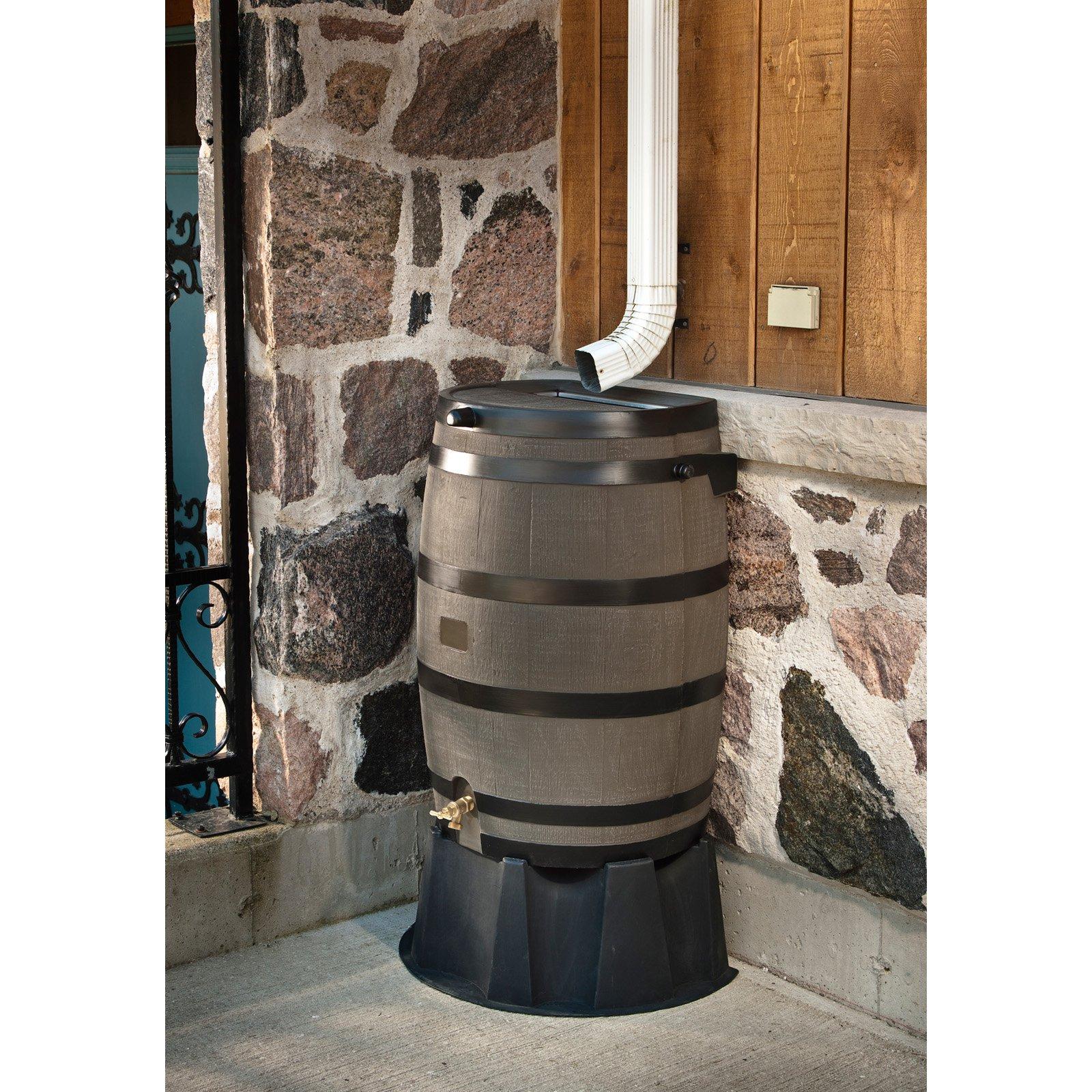 Rain Barrel Rts 50 Gallon Wood Grain Resin Flat Back Rain Barrel In 2019 Products Rain Barrel Stand Rain Barrel Rain