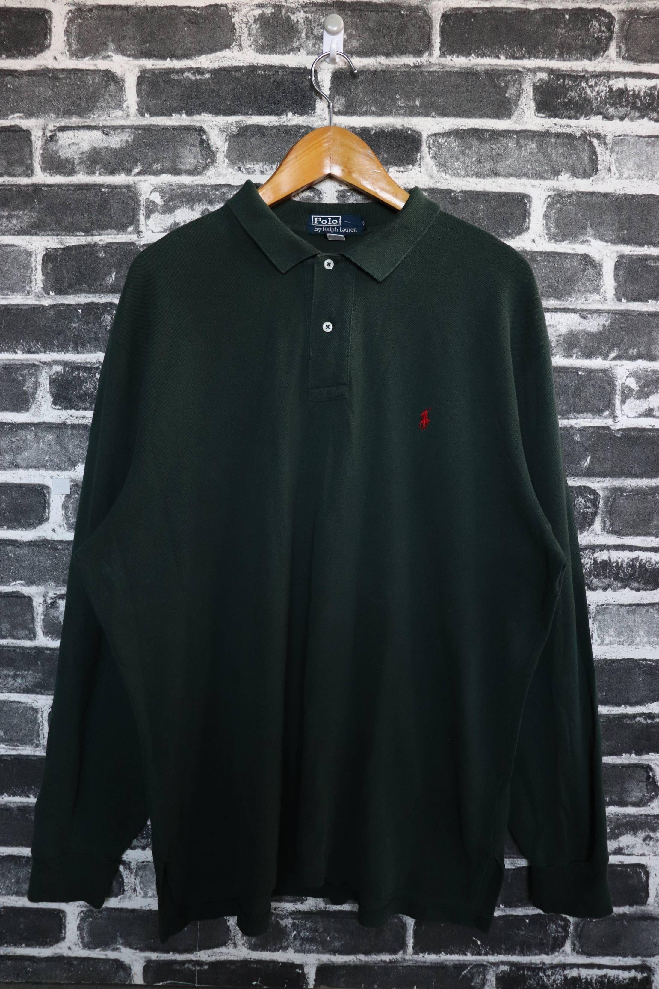 35fe48bd Polo Ralph Lauren Vintage Polo by Ralph Lauren Polos Collar Tshirt long  sleeve Emerald Green Rare