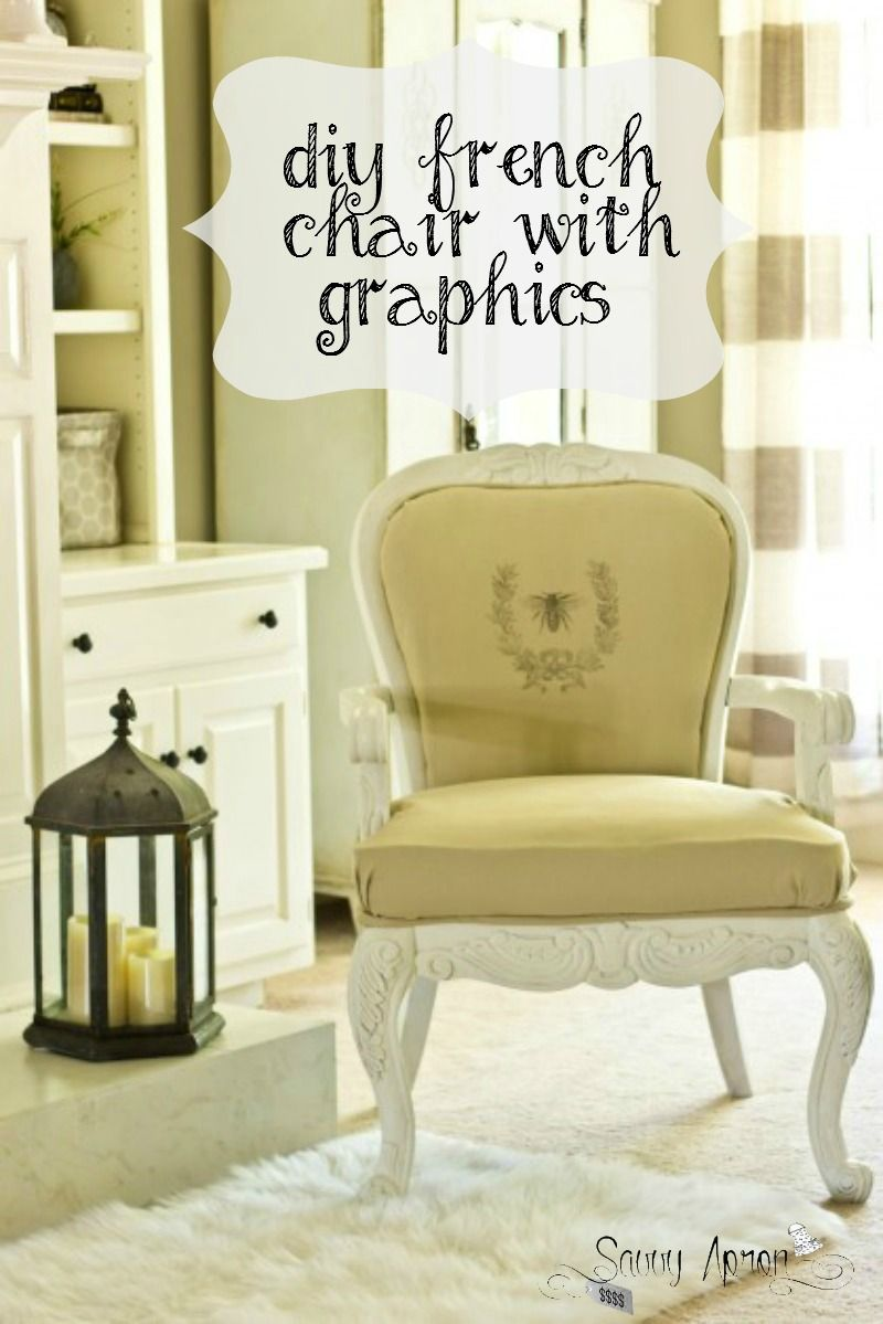 I reupholstered a diy French chair with a staple gun and a glue gun. Easy and no-sew diy French chair with graphic.