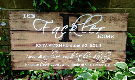 Wood Sign Distressed Reclaimed Wood Sign by MyBelovedReclaimed