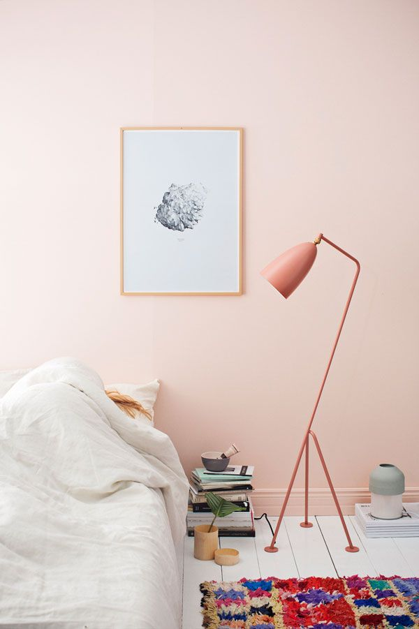 Cute Bedroom Design Idea   Light Pink Walls, Pink Floor Lamp And Colorful  Rug