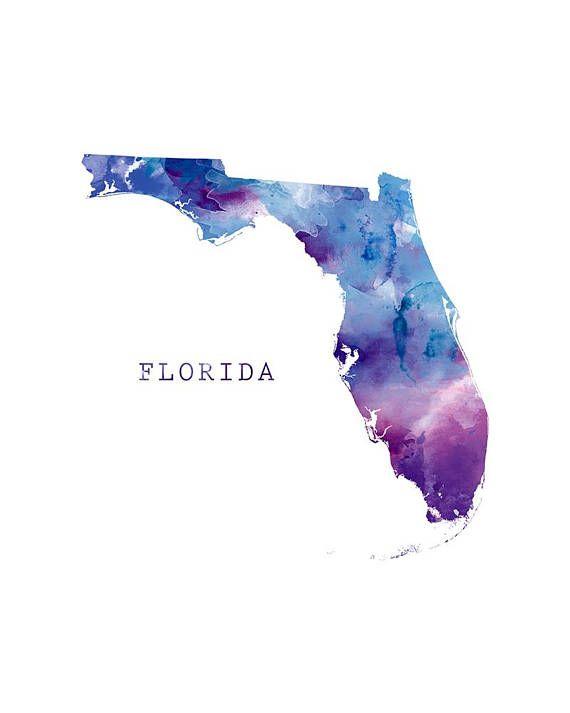 Florida Print Watercolor Map Poster Miami Home Room Decor Map