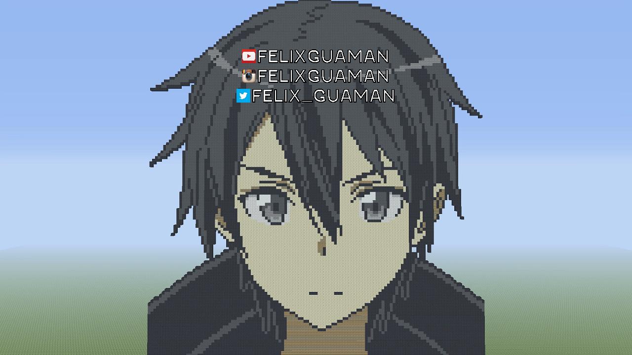 Kirito Sword Art Online Minecraft Pixel Art By Felixguaman