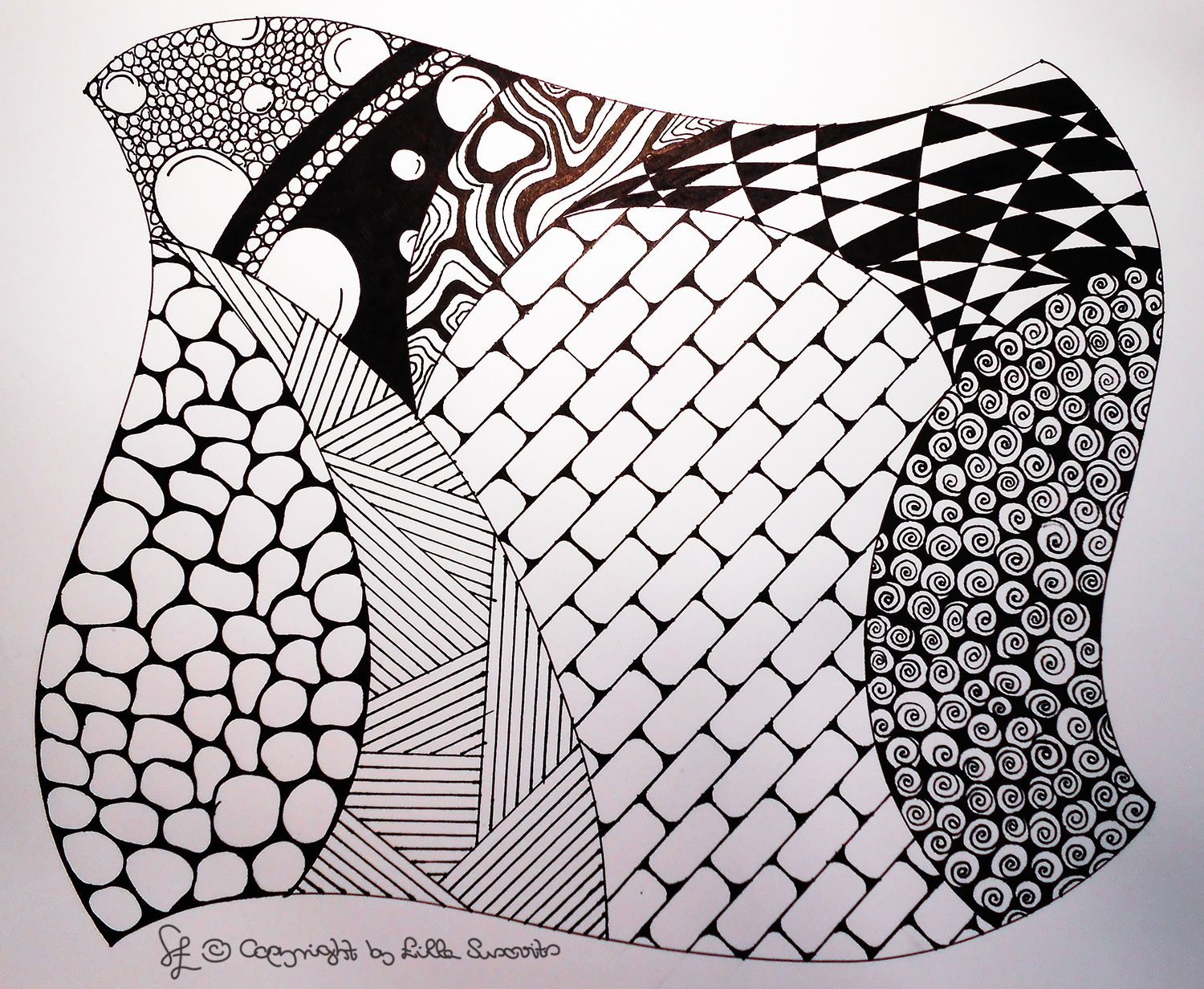 Zentangle Drawing Draw Pen Black White Paper Pattern Lines