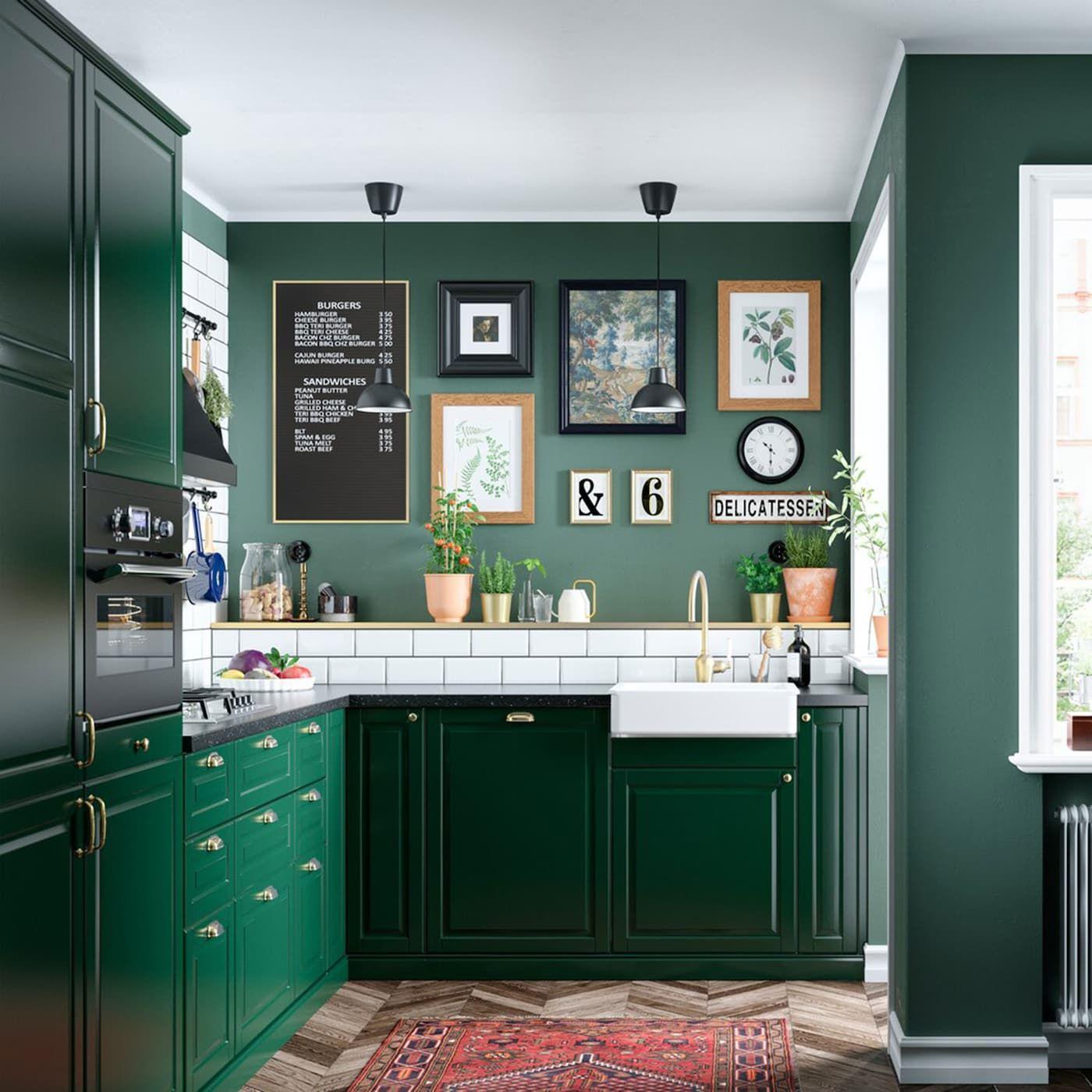 A green and fresh BODBYN kitchen | Kitchen trends, Dark ...