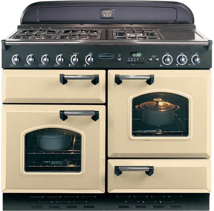 Rangemaster 74210 Classic 110 Lpg Range Cooker Cream Chrome Trim Range Cooker Gas Range Cookers Vintage Stoves