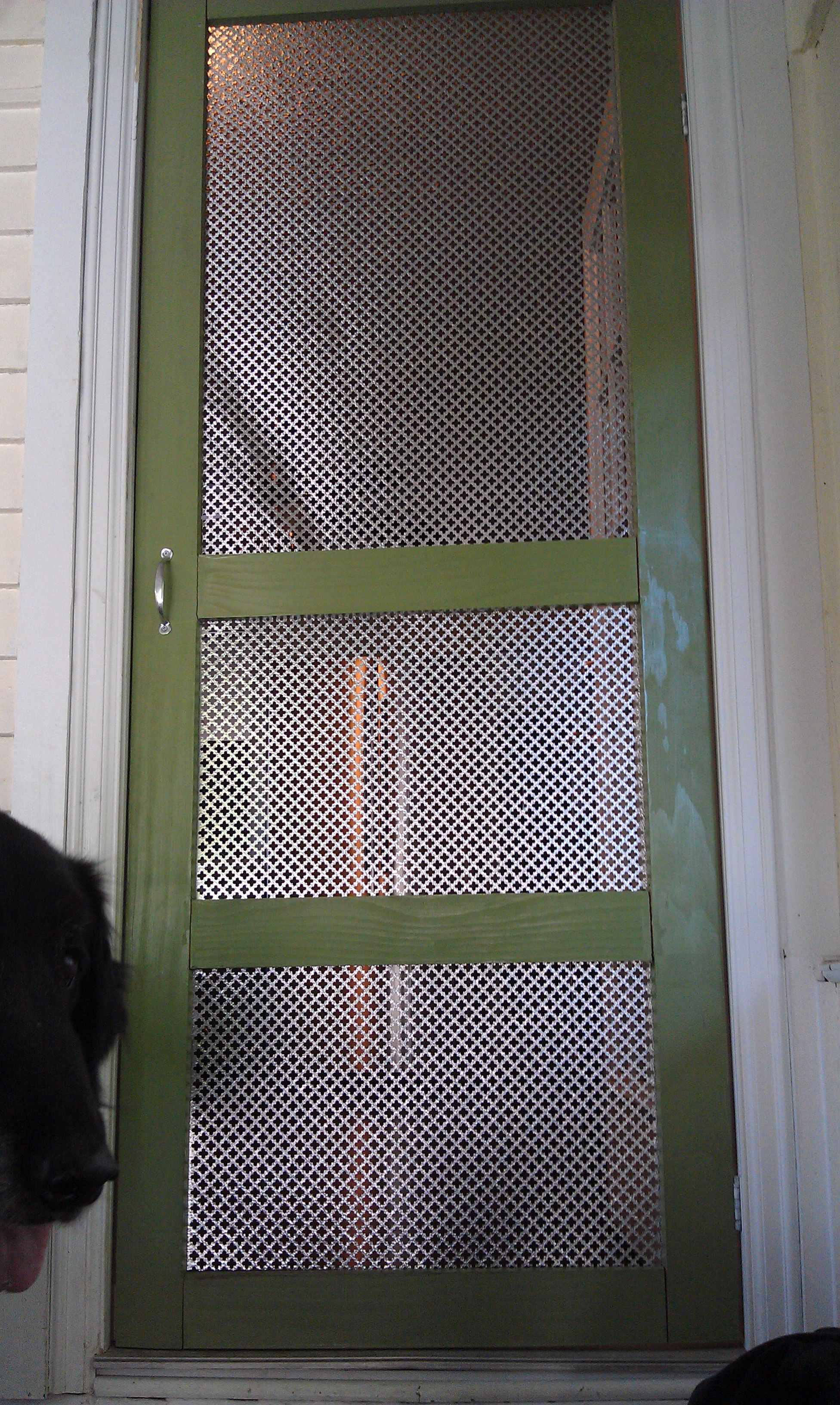 My updated screen door...cat and puppy proof! Diy screen