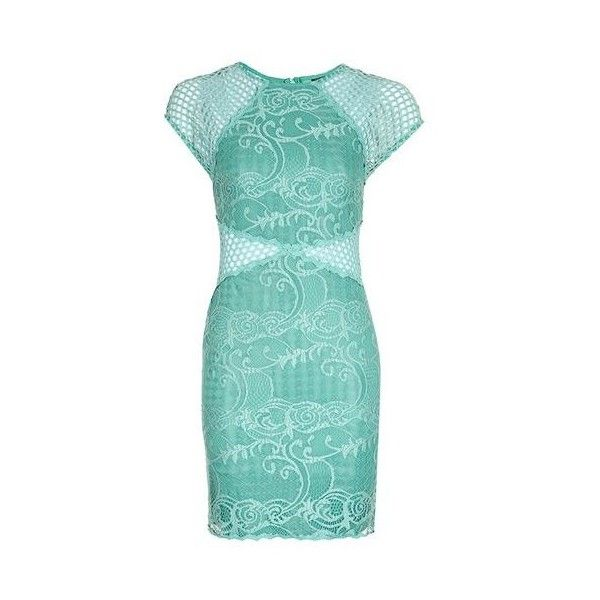 Topshop Fishnet Lace Mini Dress ($48) ❤ liked on Polyvore featuring ...