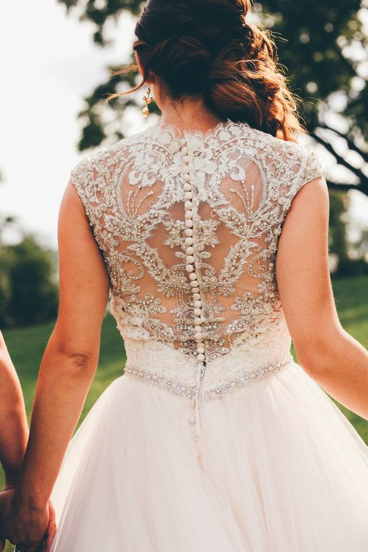 Lace, beading and tulle - wedding dresses don't get more perfect than this! | Amanda + Alex by Drishti Photography