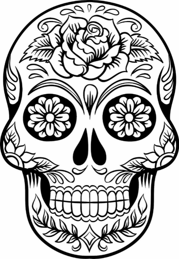 Printable sugar skull coloring
