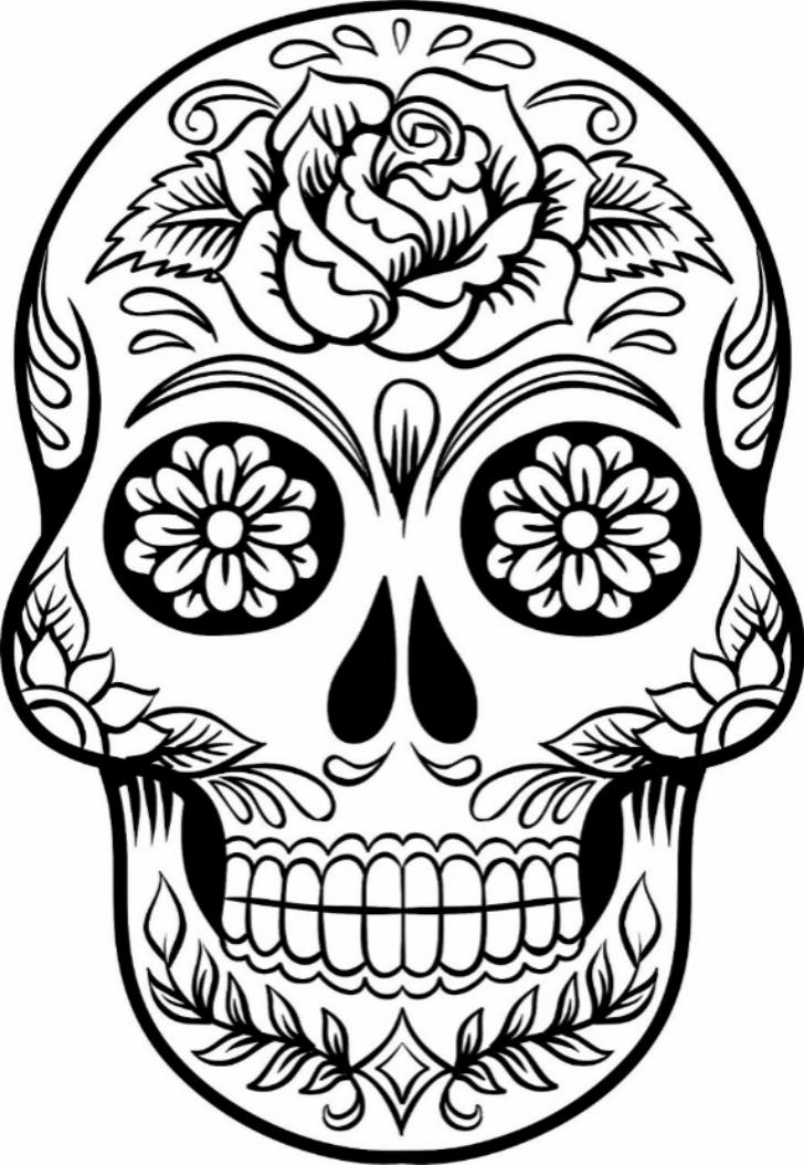 Sugar Skull Colouring Pages : sugar, skull, colouring, pages, Printable, Sugar, Skull, Coloring, Pages, Pages,, Drawing,, Grown