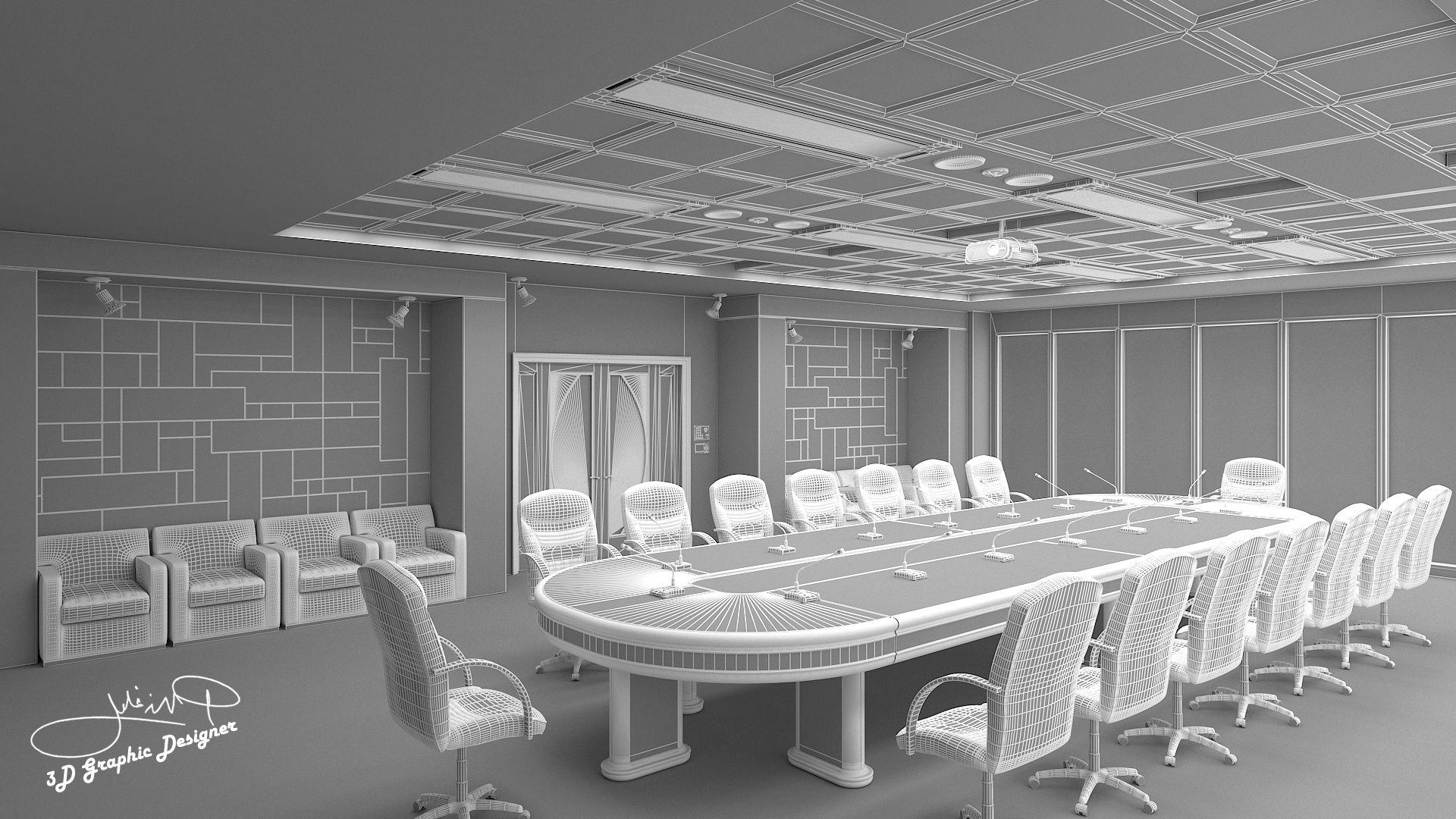Meeting room interior design implemented in Qatar  Designed