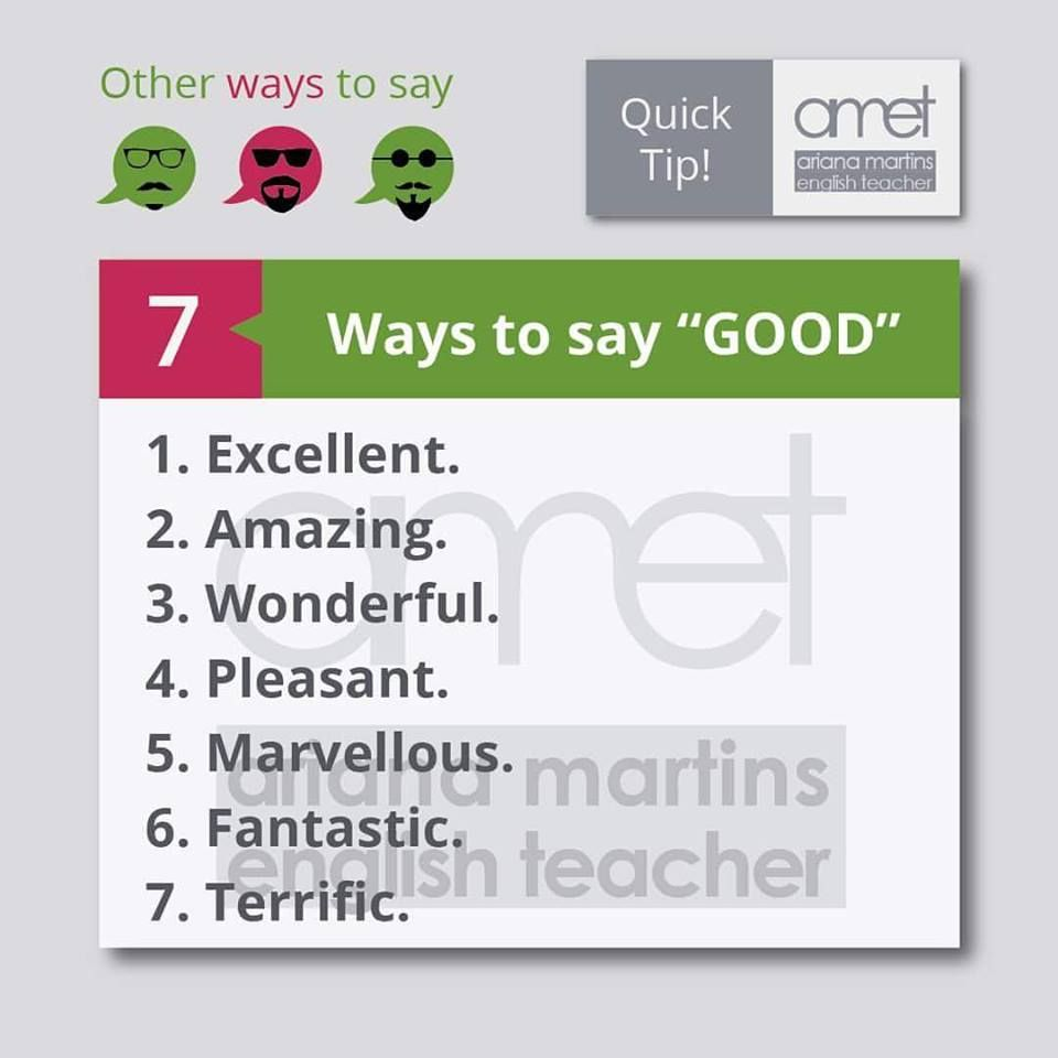 Saying \'Good\'. | Inglés | Pinterest