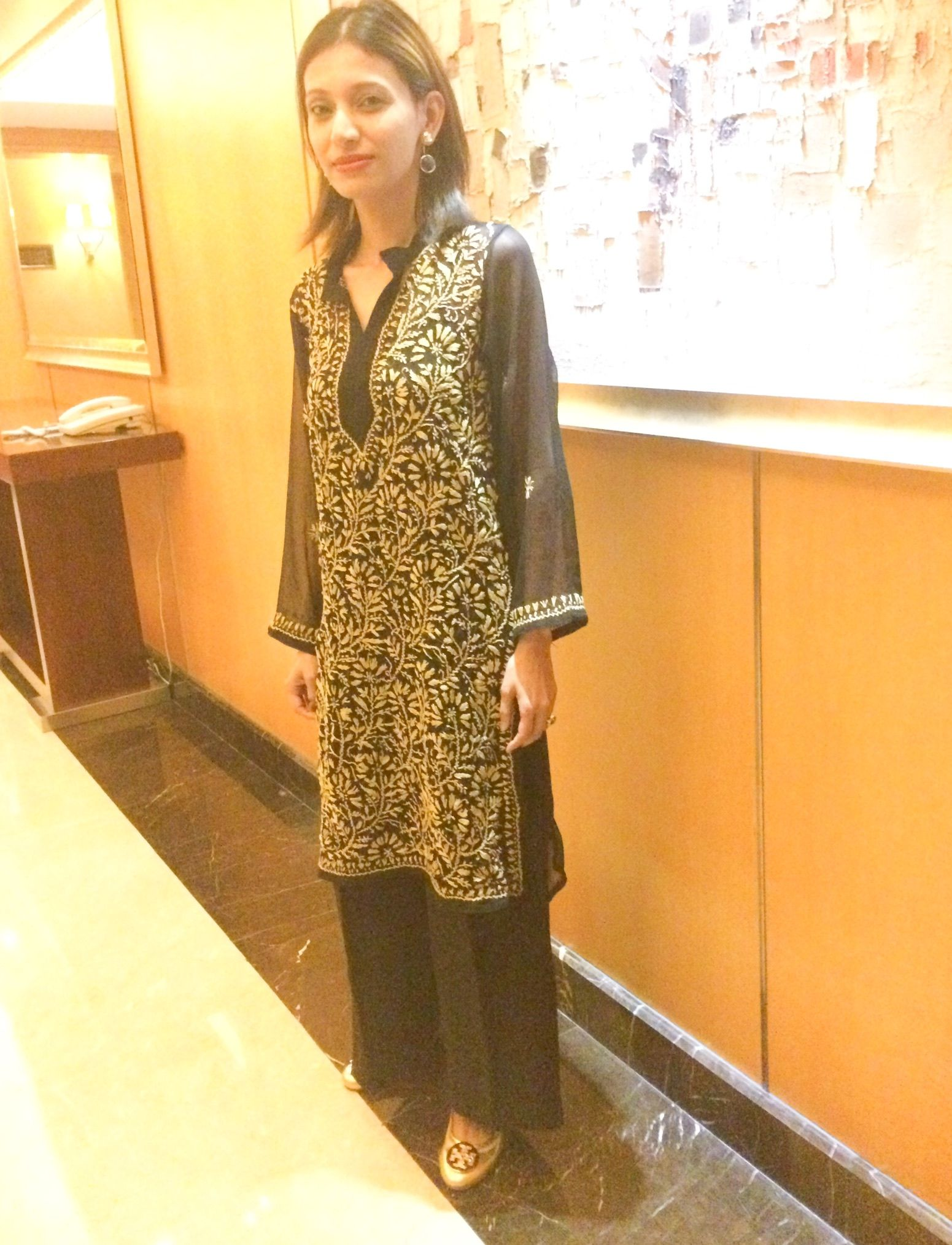 Indian outfit with palazzo pants and Indian tunic and Tory burch gold reva  flat pumps #