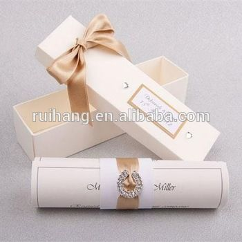 unique high quality scroll cards with diamond brooch scroll