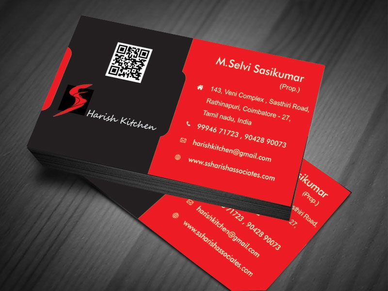 Business card designed for SS Harish Kitchen & Associates==>> Need a ...