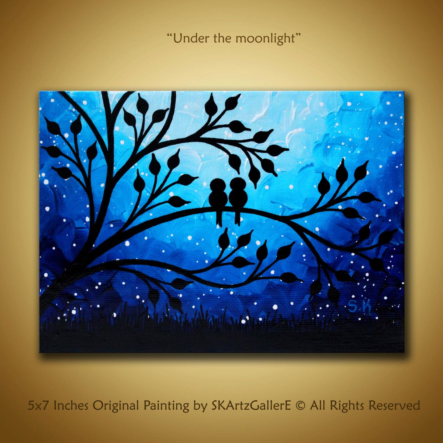 Canvas Art Love Birds Painting Mini Canvas Art Nightscape Artwork Birds On