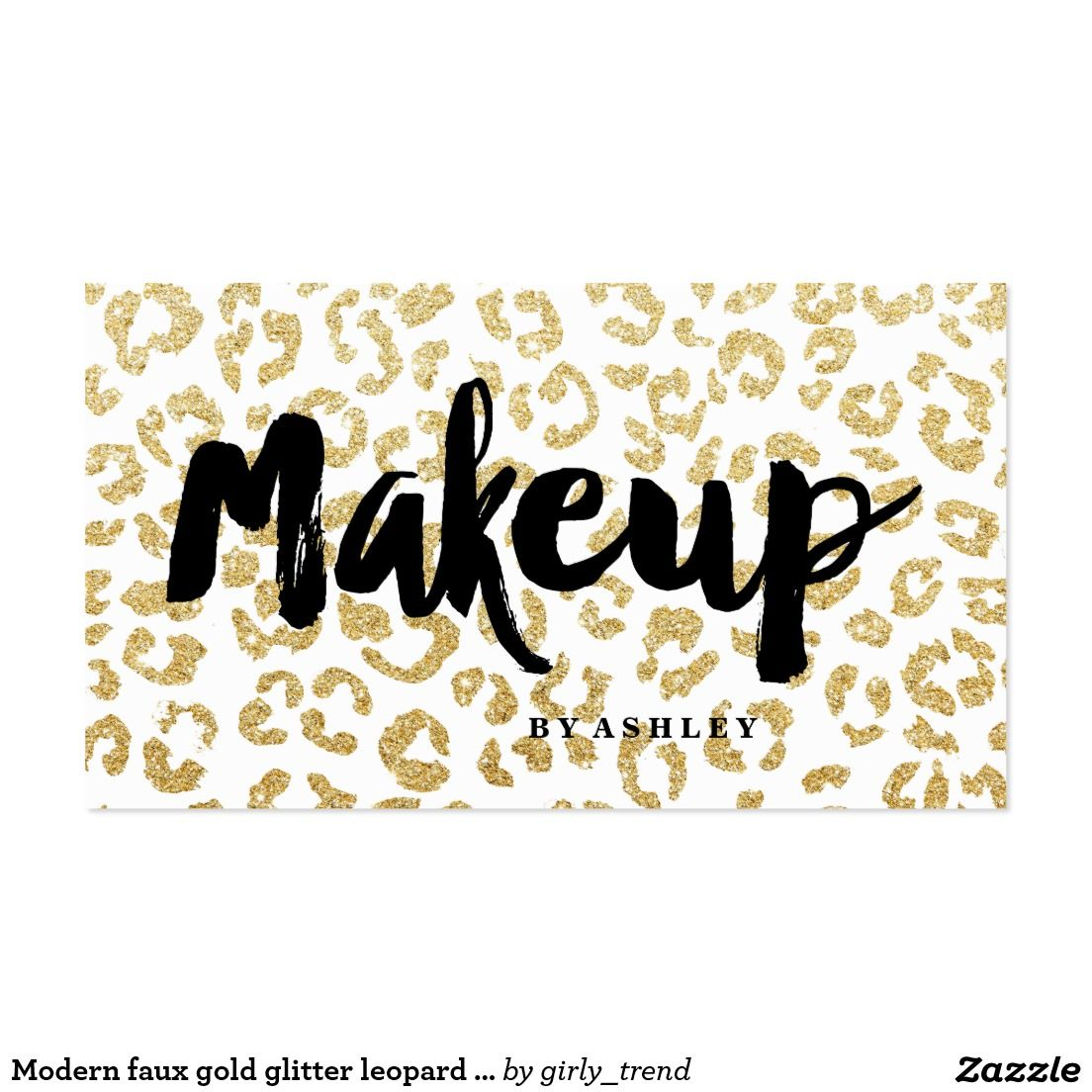 Modern faux gold glitter leopard makeup typography business card ...