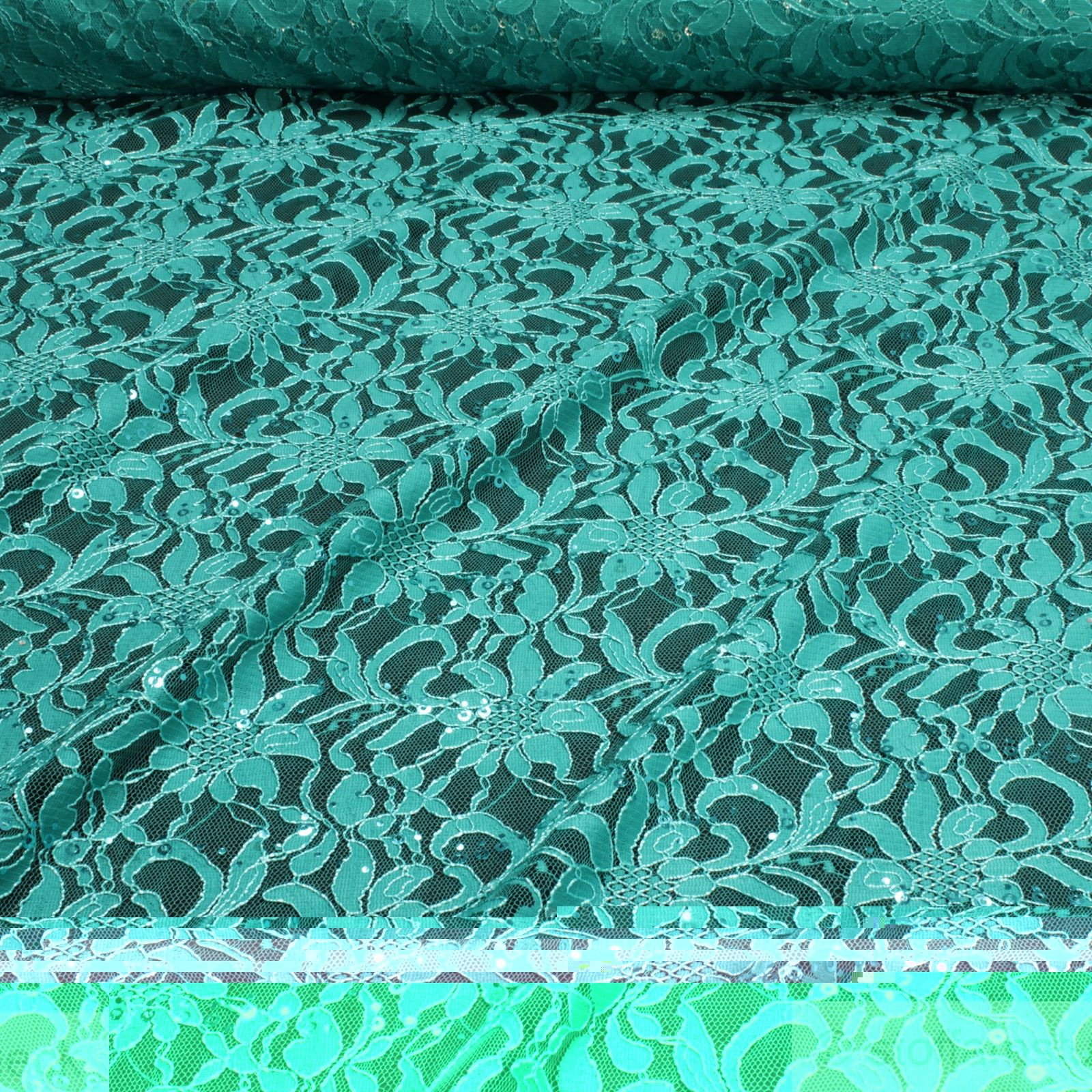 Polyamid Polyester Elastan Spitze Petrol Blume