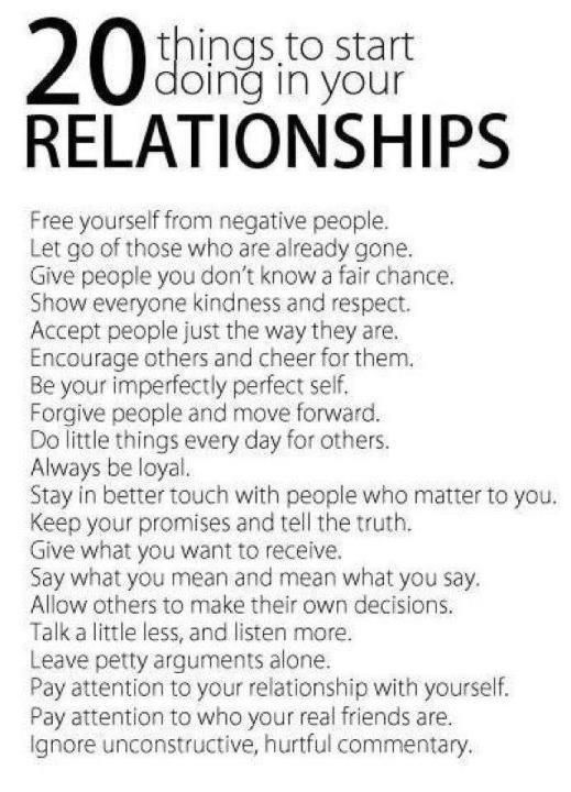 20 things to do in all relationships.