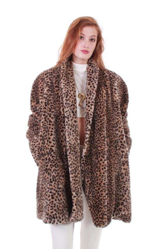 05742d24103e0 Vintage Faux Fur Swing Coat Plush Cheetah Animal Print Retro 80s 90s ...