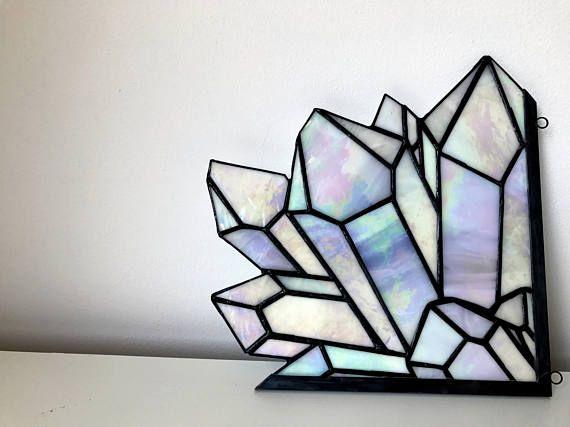 Aura Quartz Crystal Cluster Stained Glass Home Decor Quartz Stained Glass Glass Art Corner Art Milky Rindow Stained Glass Suncatchers Stained Glass Art Glass Art