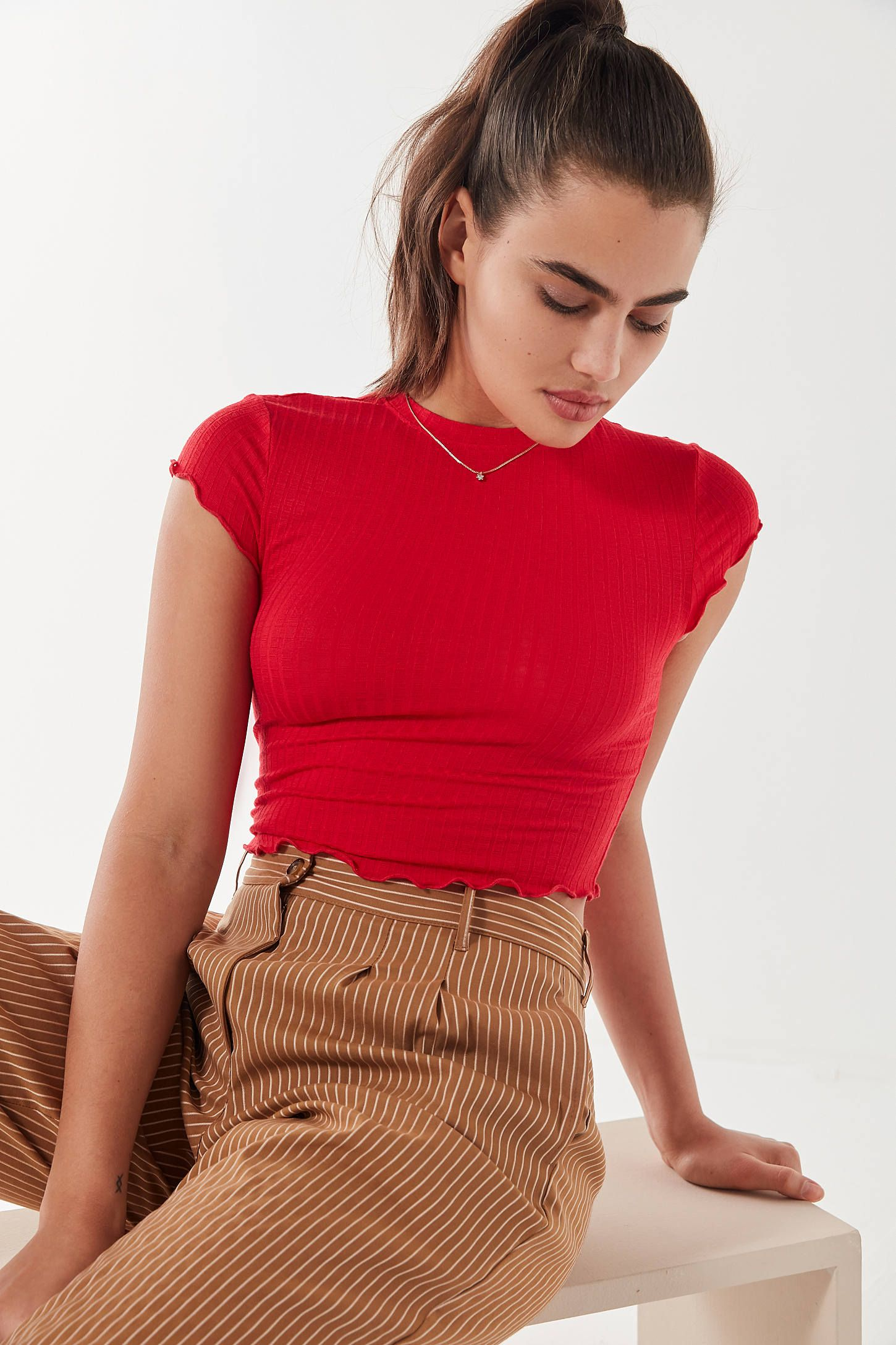 24334e8b9ac66 Out From Under Lindsey Ribbed Lettuce-Edge Cropped Top in 2019 ...