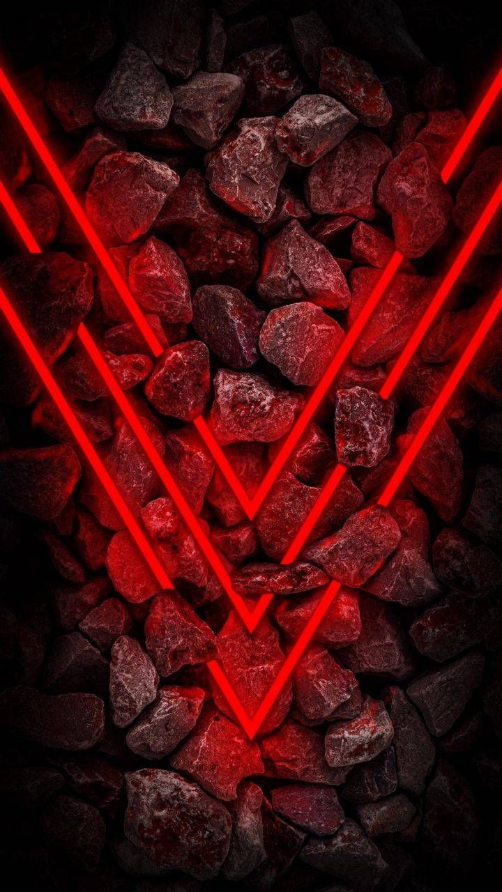 Stone Red Neon Light - iPhone Wallpapers