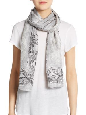 Roberto Cavalli Woman Snake-print Silk Scarf Taupe Size Roberto Cavalli cUE6lt0