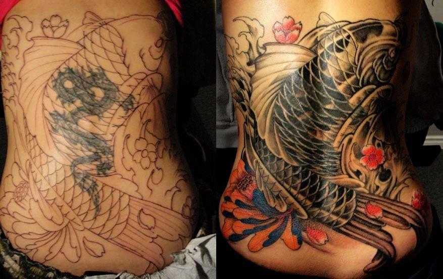 Chronic ink tattoo toronto tattoo koi fish tattoo cover
