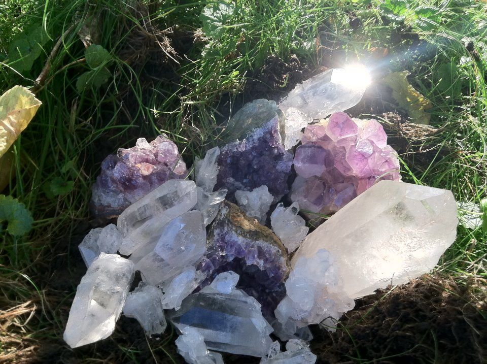 Crystals in the Garden for peace and protection. - www.crystalage.com