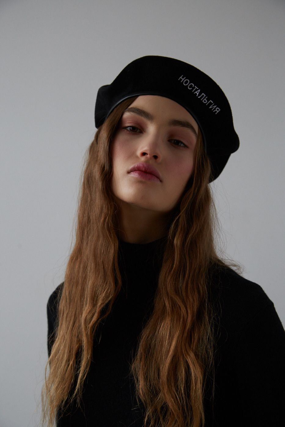 24827a862fe61 AMELIE Black cashmere beret with faux leather trim and text embroidery