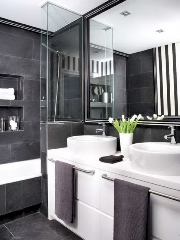 Superbe 66 Black And White Modern Master Bathroom Ideas