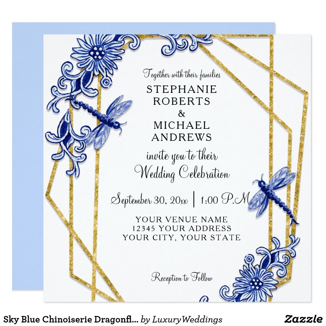 Sky Blue Chinoiserie Dragonfly Floral Watercolor Invitation