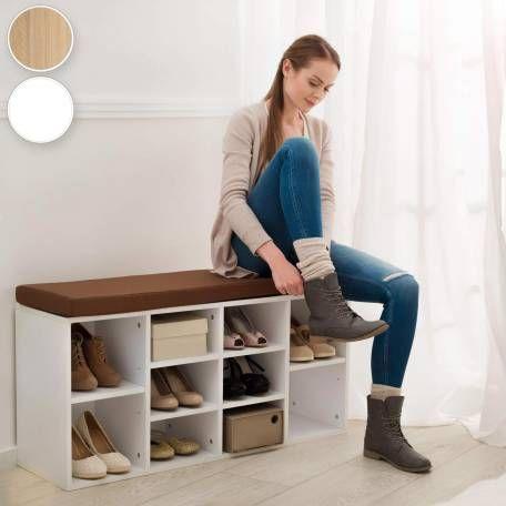 Schuhschrank mit Sitzkissen braun/weiß