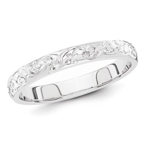 14kt White Gold 3mm Hand Engraved Floral Wedding Band XWB207