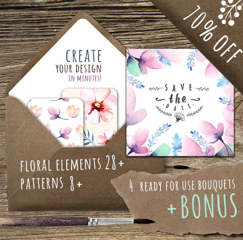 We loved this incredible pack of watercolour florals so much that we used it for the July bundle header! So easy to use and incorporate into your designs with maximum quality!