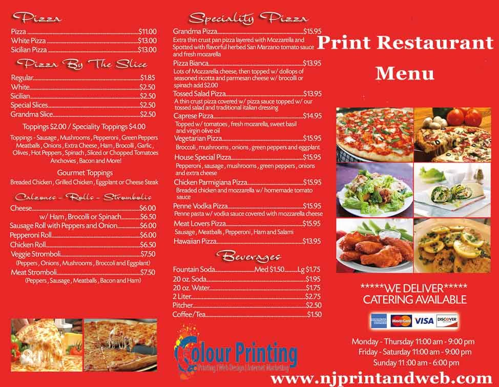 full color glossy restaurant menu printing is available at low