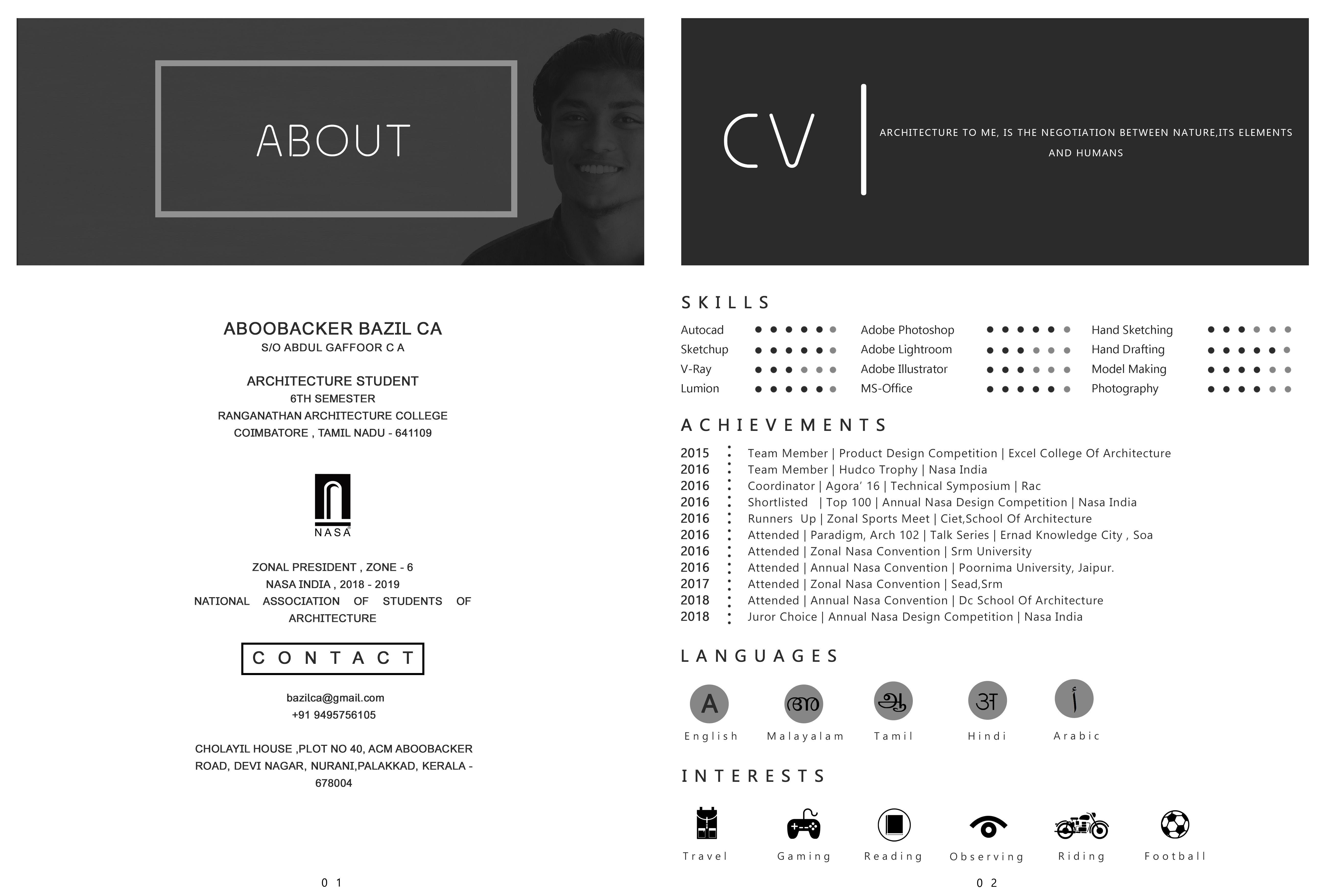 Aboobacker Bazil Ca Architecture Student Portfolio Architecture Resume Architecture Student Architecture Student Portfolio