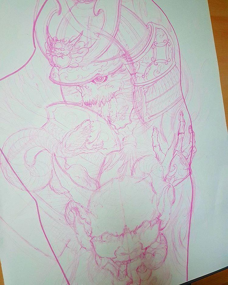 "BOBBY THAI 🇨🇦 🇻🇳 บน Instagram: ""ghost samurai and hanya sketch for upcoming fullsleeve, burnin that midnight oil #tattoo #tattoos #ghostsamurai #samurai #snake #hanya…"""