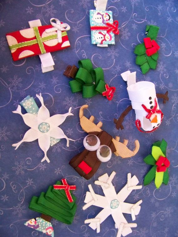 "Handmade father christmas hair bow set 4/"" bobble + 2x 3/"" clips"