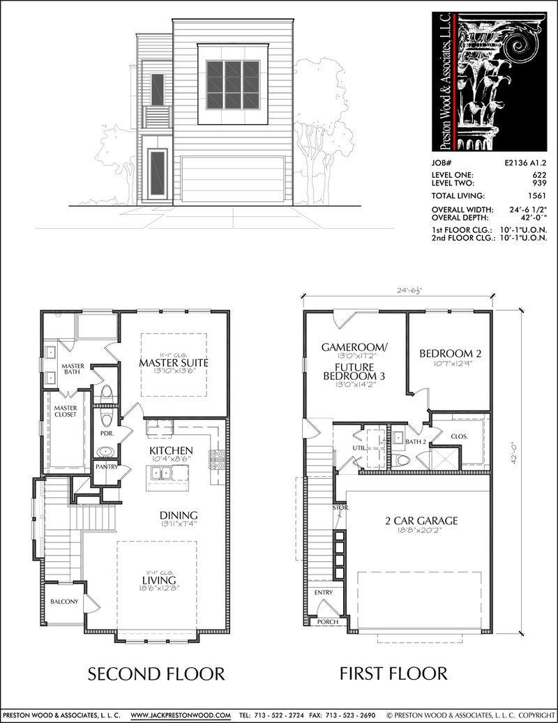 Two Story Townhouse Plan E2136 A1 2 Town House Floor Plan Duplex Floor Plans Narrow Lot House Plans