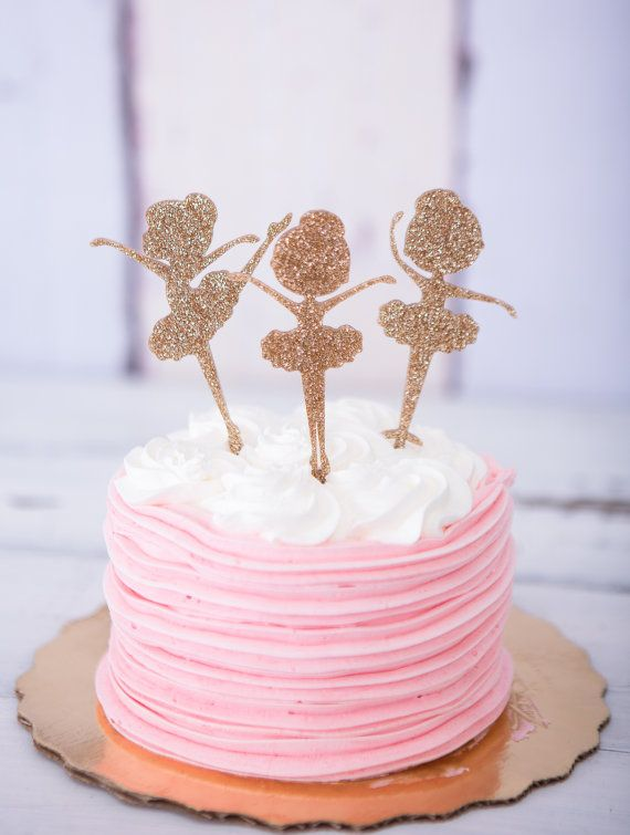 Ballerina Cake Topper for Birthday Glitter Girls Birthday Party