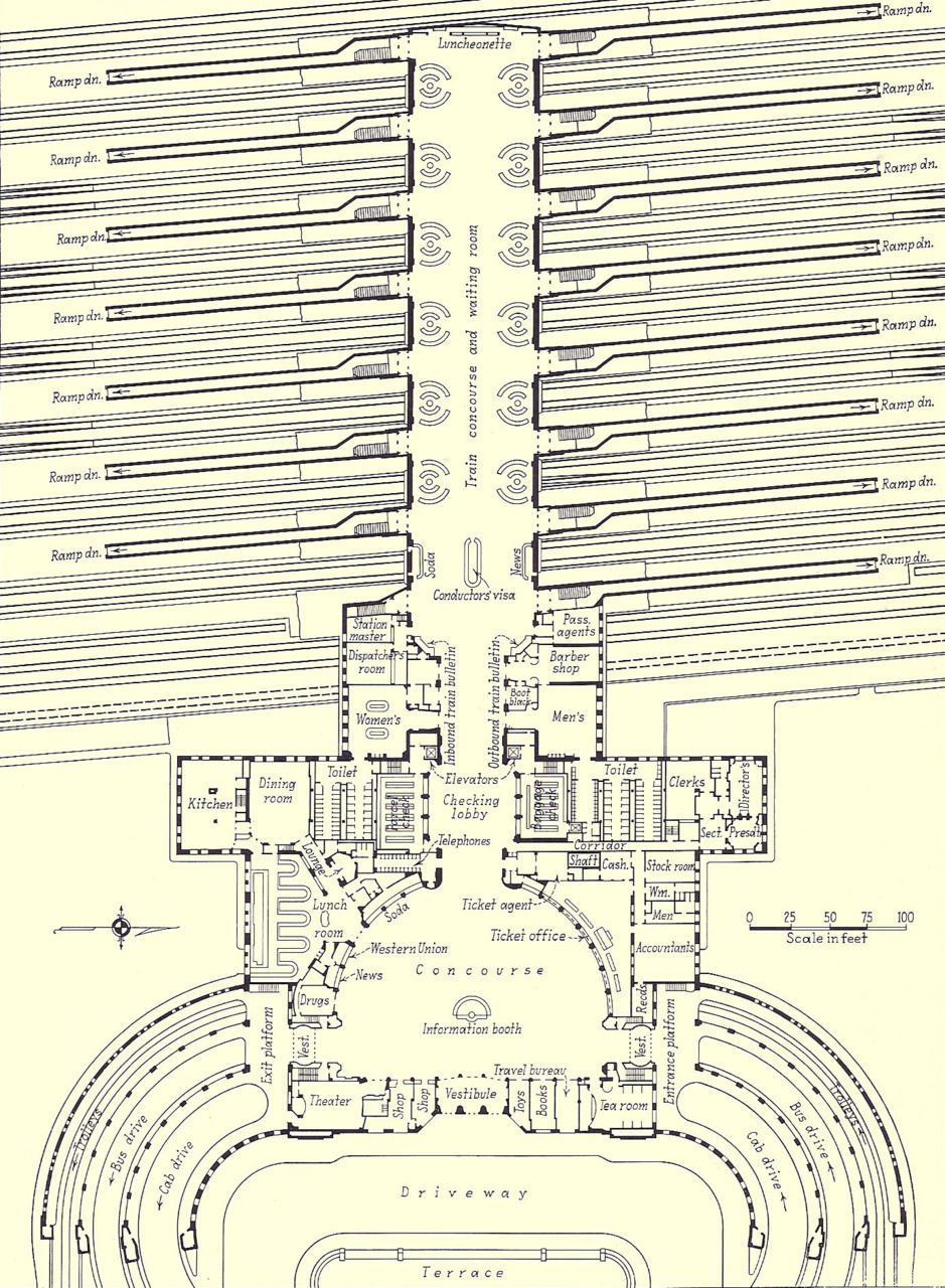Old Time Cincy Floor Plan For Union Terminal In The 1930