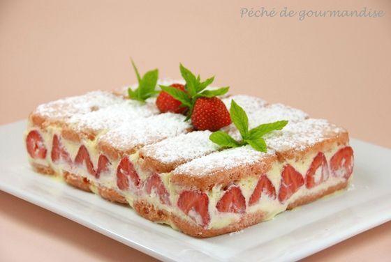 aux biscuits roses - Péché de gourmandise Simplissime recette de fraisier. Ultra bon !Simplissime recette de fraisier. Ultra bon !