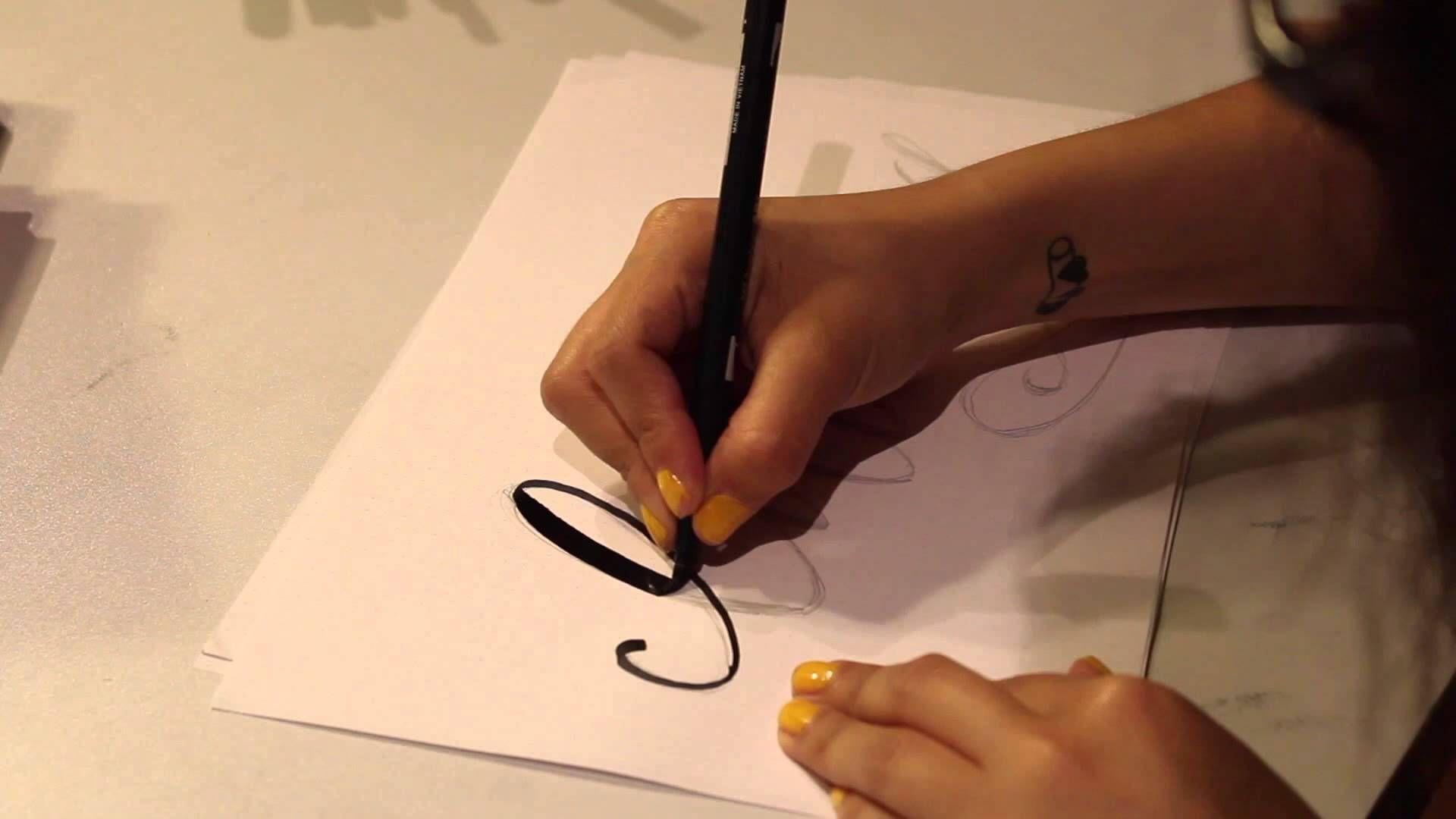 Modern calligraphy tutorial cat caudillo hand lettering