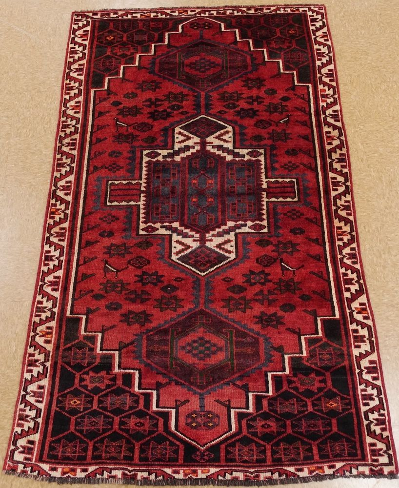 Persian Luri Tribal Hand Knotted Wool Red Ivory Geometric Oriental Rug 5 X 8